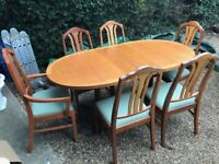 A GREAT LOOKING VINTAGE EARLY 80s NATHAN TEAK EXTENDING DINING TABLE & 6 CHAIRS FREE DELIVERY