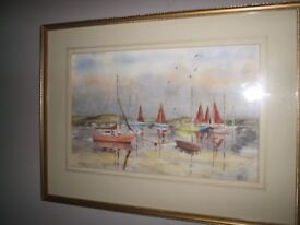 Lovely marine watercolour painting, Christchurch harbour, signed Kent artist RF White 42x31cm