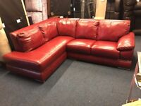 LITTLEWOODS PRIMO ITALIAN RED REAL LEATHER CORNER SOFA CHAISE END L SHAPE LEFT RIGHT OPEN CHEAP
