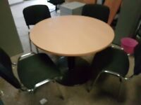 Beech meeting table with 4 chairs