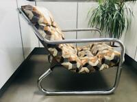 Rare 1970's Danish/Modernist Chromed Tubular Lounge Chair