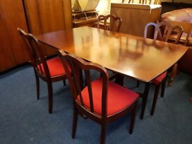 Solid Mahogany Gate Leg Dining Table And 4 Chairs