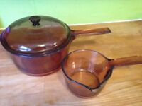 Vintage Saucepans Glass - Vision - Corning