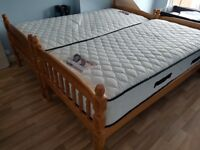 2 almost new pine single beds/bunks with luxury mattresses