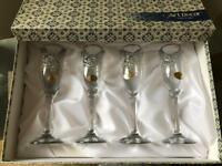 Beautiful set of art decor champagne flutes Brand New