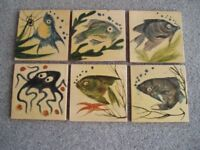 6 x Hand-made & Hand-painted ceramic tiles from spain.