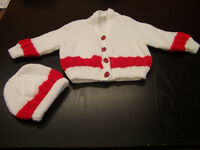 Beautiful hand knit new baby set cardigan and hat white and red stripe