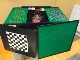 Games Table - Roulette, Chips, Dice, Chess Board & Pieces, Card Table & x2 Pack of Cards