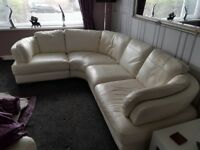 Italian white leather corner suite