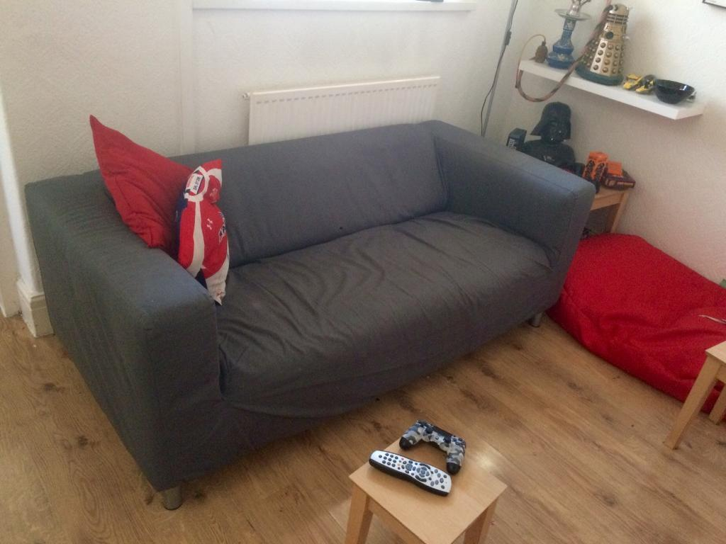 Ikea klippan sofa with flackarp grey cover in grangetown cardiff gumtree - Klippan sofa ikea ...