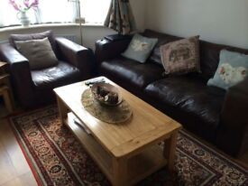 Fabulous real leather sofa and chair