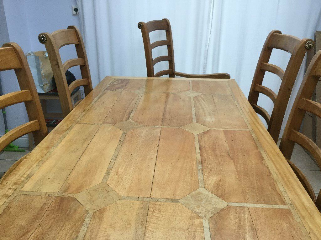 Dining Set and Matching Sideboardin Peterborough, CambridgeshireGumtree - Dining Set and Matching Sideboard Barker & Stonehouse Flagstone Mango wood with inlaid stone. Table 170cm length x 78.5cm high and 90cm wide Sideboard 150cm length x 86.5cm high and 50cm wide. Comes with 4 chairs (49cm wide x 112cm high x 53.5cm...
