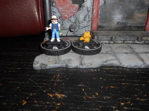 CUSTOM Heroclix ASH KETCHUM & PIKACHU Figures Miniatures - Pokemon Lot