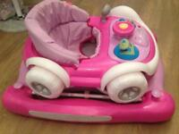 Pink car baby walker/rocker