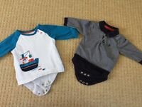 M&S baby tops with integrated vests, 0-3 months