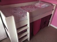 Children's Steen mid sleeper bed. (Legs can be removed to make lower).