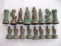 Very Heavy Cast Metal Set of Chess Pieces (NO Board). Good Condition.