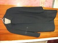 3/4 Navy blue coat,shower resistant, as-new condition, by Dunn & Co.