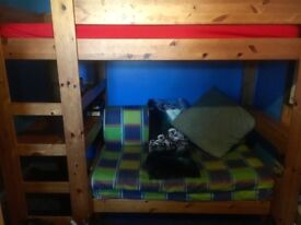 Stomper Bunk Bed Solid Wooden Wiv Double Pullout Sofabed Wiv Desk & Draws Underneath
