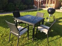 Black Rattan Table & 4 Chairs