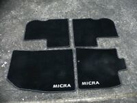 NISSAN MICRA FULL SET OF INTERIOR MATS. As new only used for 1 month.