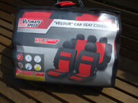"BRAND NEW ULTIMATE SPEED ""VELOUR"" CAR SEAT COVERS in red and black"