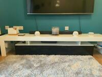 Tv Stand with storage black and white gloss finish