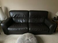 Barker and Stonehouse, 3 piece sofa, brown leather suite, 2 chairs, 1 three seater sofa.