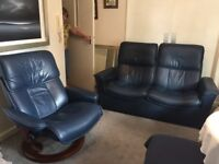 Stressless 3 piece Suite leather Blue. Beautiful!!
