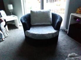 Brand new Crushed velvet corner sofa and large swivel chair
