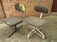 Pair 1960s Vintage Retro Engineers Chairs Architects Chairs Draughtsman Chairs