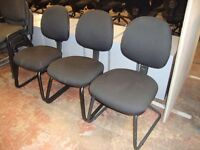 3 off matching cantilever frame black fabric visitor's/meeting chairs