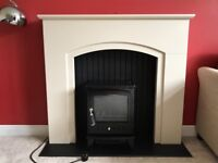 Electric Fire, fireplace surround and hearth