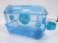 Hamster cage blue with sparkle glitter