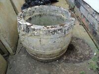 an old round garden pot