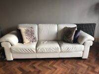 2 x NATUZZI White Leather Sofas and 1 x DWELL Black Faux Leather Rocker Chair