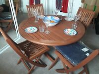 Teak garden/patio furniture folding table + 4 chairs set, with cushions-still in original packaging