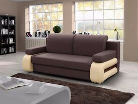 -- MASSIVE STORAGE -- GREY AND BROWN -- BRAND NEW -- 3 SEATER SOFABED WITH CONVERTIBLE 4FT6 BED -