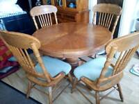 Beautiful, farmhouse, Austrian style dinning table and chairs