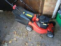 Petrol rotary lawn mower wifh grass box self propelled needs adjust 4 strike start first time vgc