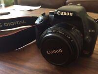 Canon EOS 450D Digital SLR Camera w Canon Lens EF 50mm, remote, charger and original manuals - £150