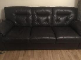 Dfs 3 Seater leather dark brown settee
