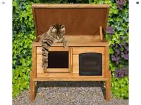 External Self Heating Cat Kennel/Shelter with One Way Privacy Window