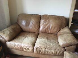 Leather sofas.