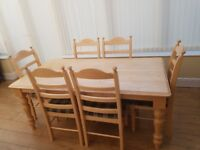 Dining Table and 6 Chairs Beech - Good Condition