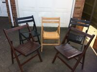 WOODEN GARDEN CHAIRS - SET OF FIVE - 2 BLACK - 2 BROWN - 1 NATURAL