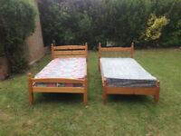 Two Single Beds with Mattresses For Sale