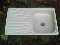 caravan or camper cream plastic sink with drainer all in one