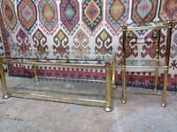 Vintage high quality brass and glass coffee table and two tier stand set mid century quality 70's