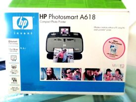 PORTABLE HP Photosmart A618 Compact Photo Printer - Built-in Bluetooth - Wireless - As New Condition